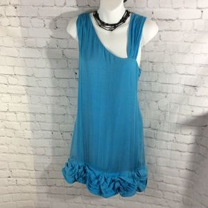 ALICE + OLIVIA LIGHT BLUE 100% Silk BABYDOLL DRESS